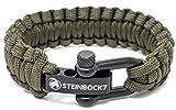 Bracelet paracorde Steinbock7 - Fermoir en acier inoxydable - Mode d'emploi, Army-Green, 23 cm